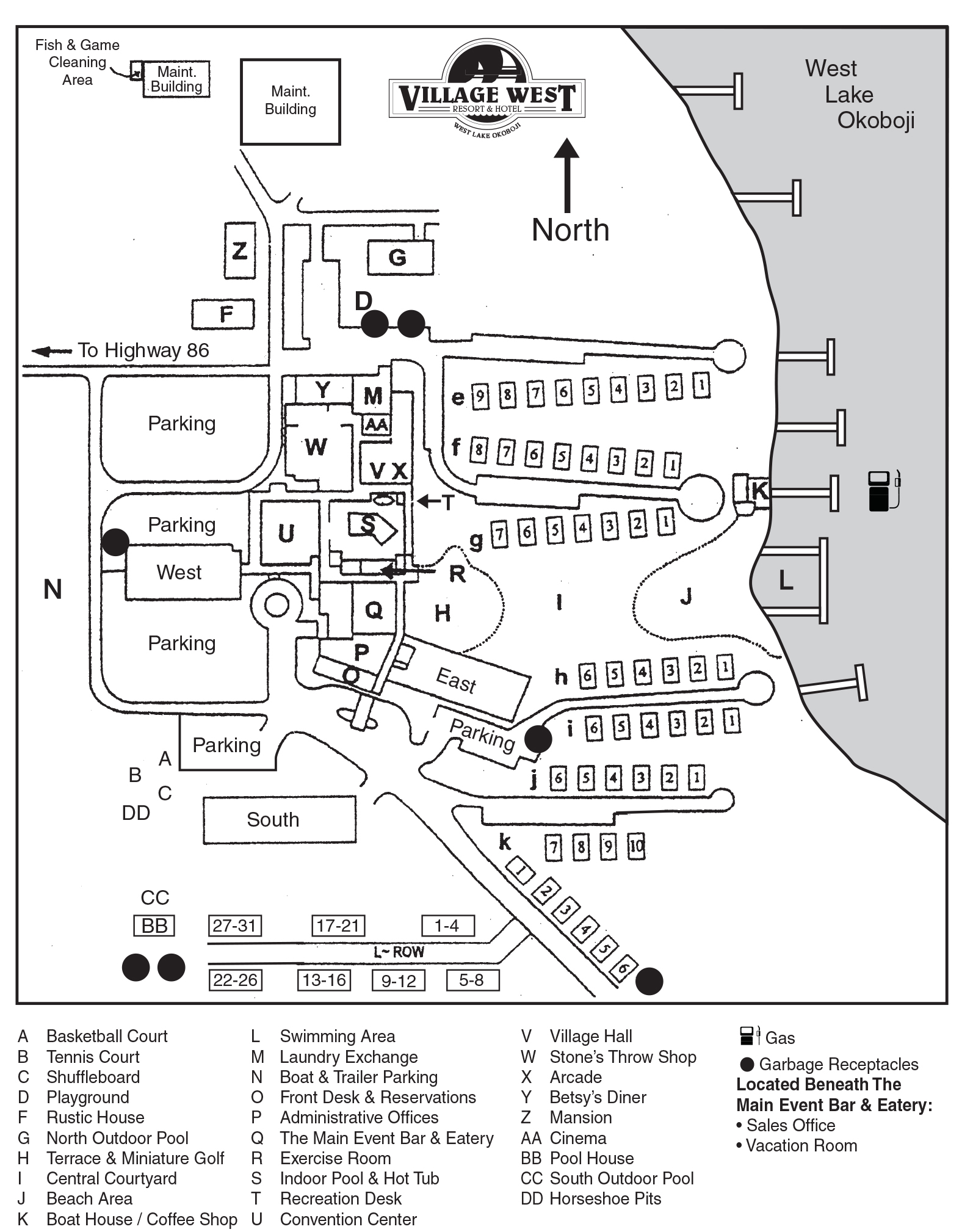Village West Map and Key